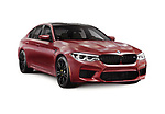 Sixth-generation BMW M5 with M xDrive, 2018 performance car, luxury sport sedan, 5-series in dark red, burgundy matte color. Isolated with a clipping path on white background. Image © MaximImages, License at https://www.maximimages.com
