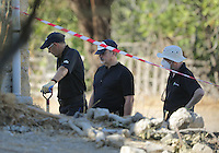Pictured: Forensics officers at the site where the farmhouse extension used to be in Kos, Greece. Thursday 06 October 2016<br /> Re: Police teams led by South Yorkshire Police, searching for missing toddler Ben Needham on the Greek island of Kos have moved to a new area in the field they are searching.<br /> Ben, from Sheffield, was 21 months old when he disappeared on 24 July 1991 during a family holiday.<br /> Digging has begun at a new site after a fresh line of inquiry suggested he could have been crushed by a digger.