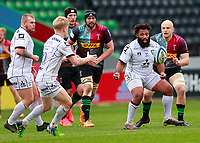 20th March 2021; Twickenham Stoop, London, England; English Premiership Rugby, Harlequins versus Gloucester; Harlequins, Gloucester; Jamal Ford-Robinson of Gloucester popping the ball up for George Barton of Gloucester