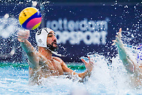 14-02-2021: Waterpolo: France v Russia: Rotterdam<br /> <br /> ROTTERDAM, NETHERLANDS - FEBRUARY 14: Mehdi Marzouki of France during the Olympic Waterpolo Qualification Tournament 2021 match between France and Russia at Zwemcentrum Rotterdam on February 14, 2021 in Rotterdam, Netherlands (Photo by Marcel ter Bals/Orange Pictures)