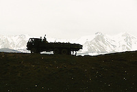 A Russian truck at the Nil Kowtal Pass at 3538 meters on the road from Bamiyan to Yakawlang. Hazarajat, Afghanistan.