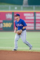 AZL Rangers second baseman Ryan Dorow (28) on defense against the AZL Indians on August 26, 2017 at Goodyear Ball Park in Goodyear, Arizona. AZL Indians defeated the AZL Rangers 5-3. (Zachary Lucy/Four Seam Images)