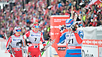HOLMENKOLLEN, OSLO, NORWAY - March 17: (L-R) Heidi Weng of Norway (NOR) and Astrid Uhrenholdt Jacobsen of Norway (NOR) after finishing the Ladies 30 km mass start race, free technique, at the FIS Cross Country World Cup on March 17, 2013 in Oslo, Norway. (Photo by Dirk Markgraf)