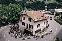 peloton cornering a wide switchback<br /> <br /> Stage 6: Frontenex > La Rosière Espace San Bernardo (110km)<br /> 70th Critérium du Dauphiné 2018 (2.UWT)