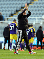 Pictured: after the final whistle. Saturday 19 April 2014<br /> Re: Barclay's Premier League, Newcastle United v Swansea City FC at St James Park, Newcastle, UK.