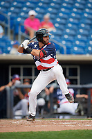 Quad Cities River Bandits first baseman Scott Schreiber (19) at bat during a game against the West Michigan Whitecaps on July 23, 2018 at Modern Woodmen Park in Davenport, Iowa.  Quad Cities defeated West Michigan 7-4.  (Mike Janes/Four Seam Images)
