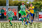 James Darmody, Killarney Celtic in action against Roger Timon, Douglas Hall at the FAI Youth final Mounthawk Park between Killarney Celtic and Douglas Hill at Mounthawk, Tralee on Sunday.