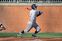 Kirby Taylor (12) of the Rice Owls follows through on his swing against the Charlotte 49ers at Hayes Stadium on March 6, 2015 in Charlotte, North Carolina.  The Owls defeated the 49ers 4-2.  (Brian Westerholt/Four Seam Images)