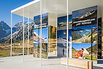 Austria, East-Tyrol, High Tauern National Park, information centre at Staller Sattel, the passroad connects Valley Defereggen in Austria with Valle d'Anterselva in Italy | Oesterreich, Osttirol, Nationalpark Hohe Tauern, Informationszentrum am Staller Sattel, die Passstrasse verbindes das Defereggental mit dem Antholzertal in Suedtirol