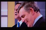 The First Television Election Debate David Cameron Gordon Brown . April 15th 2010. Manchester England