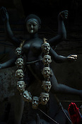 A half finished idol of Hindu Goddess (Kali) idols in Kumhartuli in Kolkata, West Bengal, India.