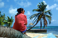 Woman enjoying the scenic beach view, Ambergris Caye, Belize