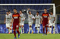 Football, Serie A: AS Roma - Juventus, Olympic stadium, Rome, September 27, 2020. <br /> Juventus' Cristiano Ronaldo (c) celebrates after scoring his first goal in the match during the Italian Serie A football match between Roma and Juventus at Olympic stadium in Rome, on September 27, 2020. <br /> UPDATE IMAGES PRESS/Isabella Bonotto