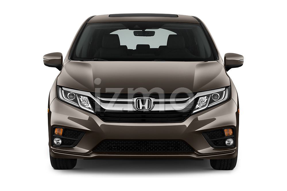 Car photography straight front view of a 2019 Honda Odyssey EX-L 5 Door Minivan Front View