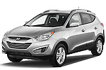 Front three quarter view of a 2012 Hyundai Tucson GLS SUV.