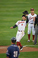 Altoona Curve first baseman Connor Joe (6) gets under a popup as second baseman Kevin Kramer (37) looks on during a game against the New Hampshire Fisher Cats on May 11, 2017 at Peoples Natural Gas Field in Altoona, Pennsylvania.  Altoona defeated New Hampshire 4-3.  (Mike Janes/Four Seam Images)