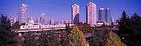 Burnaby, BC, British Columbia, Canada - Skytrain and High Rise Apartment / Condominium Buildings and Office Towers at Metrotown, Panoramic View