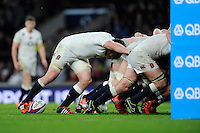 Ben Morgan of England controls the ball at the base of the scrum as England is awarded a late penalty try during the QBE International match between England and New Zealand at Twickenham Stadium on Saturday 8th November 2014 (Photo by Rob Munro)