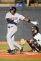 Telvin Nash #32 of the Greeneville Astros follows through on his swing against the Bristol White Sox at Boyce Cox Field July 2, 2010, in Bristol, Tennessee.  Photo by Brian Westerholt / Four Seam Images