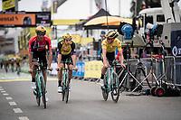 Wout van Aert (BEL/Jumbo - Visma) & yellow jersey / GC leader Mike Teunissen (NED/Jumbo-Visma) finishing the morning course reconnaissance <br /> <br /> Stage 2 (TTT): Brussels to Brussels(BEL/28km) <br /> 106th Tour de France 2019 (2.UWT)<br /> <br /> ©kramon
