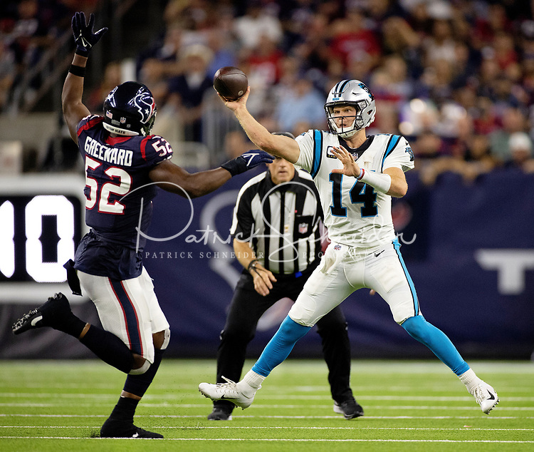 09/23/2021: Photography of the Carolina Panthers v. The Houston Texans, during their NFL Thursday night game at NRG Stadium in Houston, Texas.<br /> <br /> Charlotte photographer - Patrick SchneiderPhoto.com