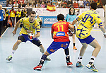 Spain's Daniel Sarmiento (c) and Bosnia Herzegovina's Senjamin Buric (l) and Senjamin Buric during 2018 Men's European Championship Qualification 2 match. November 2,2016. (ALTERPHOTOS/Acero)