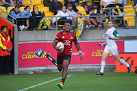Crusaders Sevu Reece scores during the Super Rugby Aotearoa match between the Hurricanes and Crusaders at Sky Stadium in Wellington, New Zealand on Sunday, 11 April 2020. Photo: Dave Lintott / lintottphoto.co.nz