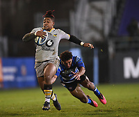 8th January 2021; Recreation Ground, Bath, Somerset, England; English Premiership Rugby, Bath versus Wasps; Paolo Odogwu of Wasps evades a tackle