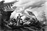 Battle of Lake Erie. September 1813.  Oliver Hazard Perry, standing.  Copy of engraving by Phillibrown after W. H. Powell, published 1858. (Marine Corps)<br /> Exact Date Shot Unknown<br /> NARA FILE #:  127-N-302099<br /> WAR & CONFLICT BOOK #:  83