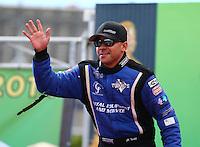 Mar 30, 2014; Las Vegas, NV, USA; NHRA top fuel driver J.R. Todd during the Summitracing.com Nationals at The Strip at Las Vegas Motor Speedway. Mandatory Credit: Mark J. Rebilas-