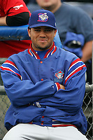July 5th, 2007:  Luis Perez of the Auburn Doubledays, Class-A affiliate of the Toronto Blue Jays at Dwyer Stadium in Batavia, NY.  Photo by:  Mike Janes/Four Seam Images