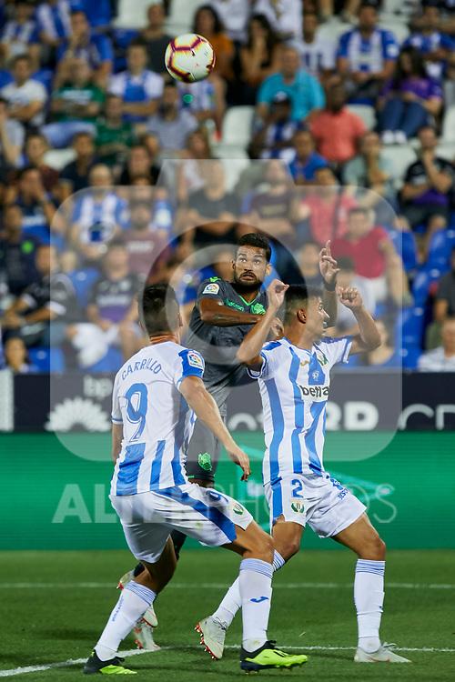 Leganes' Guido Marcelo Carrillo (l) and Juan Francisco Moreno (r) and Real Sociedad's Willian Jose Da Silva during La Liga match. August 24, 2018. (ALTERPHOTOS/A. Perez Meca)