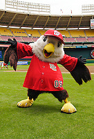 11 June 2006: Screech, mascot of the Washington Nationals, strikes a pose prior to a game against the Philadelphia Phillies at RFK Stadium, in Washington, DC. The Nationals shut out the visiting Phillies 6-0 to take the series three games to one...Mandatory Photo Credit: Ed Wolfstein Photo..