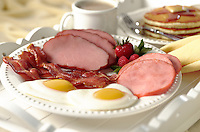 Farm fresh breakfast of eggs, bacon, ham