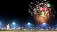 Fireworks in the nighttime sky over the Rolex 24 at Daytona, at Daytona INternational Speedway, Daytona Beach, FL (Photo by Brian Cleary/www.bcpix.com)