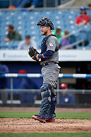 Lehigh Valley IronPigs catcher Logan Moore (35) during a game against the Syracuse Chiefs on May 20, 2018 at NBT Bank Stadium in Syracuse, New York.  Lehigh Valley defeated Syracuse 5-2.  (Mike Janes/Four Seam Images)