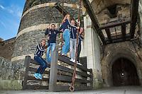 2016, 12 April, Arena Loire, Trélazè,  Semifinal FedCup, France-Netherlands,  Dutch team at the `Chateau, ltr: Cindy Burger, Captain Paul Haarhuis, Arantxa Rus,  Kiki Bertens, and Richel Hogenkamp <br /> Photo:Tennisimages/Henk Koster