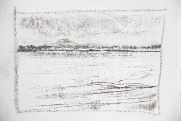 Mount Rainier, Seattle, Joel Rogers, Journal Art 2002, charcoal on paper,