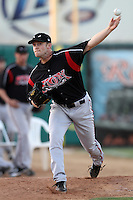 Mark Hardy #16 of the Lake Elsinore Storm warms up before pitching against the Lancaster JetHawks at Clear Channel Stadium on May 11, 2012 in Lancaster,California. (Larry Goren/Four Seam Images)
