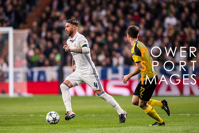 Sergio Ramos of Real Madrid in action during the 2016-17 UEFA Champions League match between Real Madrid and Borussia Dortmund at the Santiago Bernabeu Stadium on 07 December 2016 in Madrid, Spain. Photo by Diego Gonzalez Souto / Power Sport Images