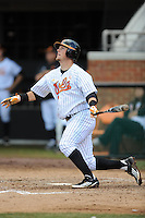 First Baseman Davis Morgan #30 swings at a pitch during a  game against the Kentucky Wildcats at Lindsey Nelson Stadium on March 24, 2012 in Knoxville, Tennessee. The game was suspended in the bottom of the 5th with the Wildcats leading 5-0. Tony Farlow/Four Seam Images.