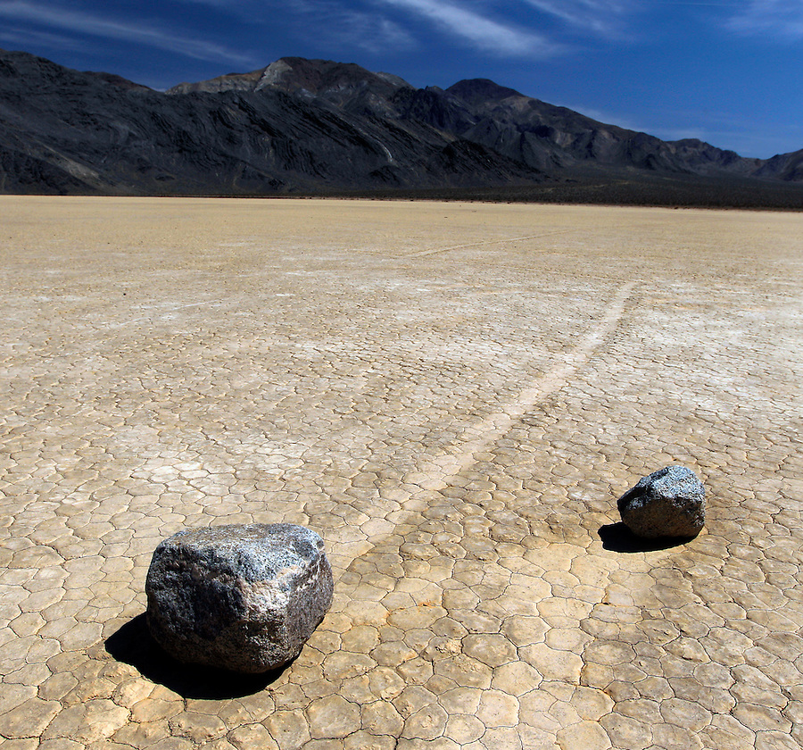 "The Racetrack Playa, or The Racetrack, is a scenic dry lake feature with ""sailing stones"" that leave linear ""racetrack"" imprints in Death Valley National Park located in southern California. Photo/Andrew Shurtleff"