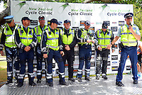 The NZ Police team take to the podium after the NZ Cycle Classic stage five of the UCI Oceania Tour in Masterton, New Zealand on Saturday, 23 January 2016. Photo: Dave Lintott / lintottphoto.co.nz