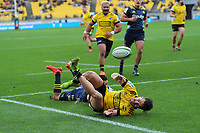 Kobus Van Wyk scores during the Super Rugby Aotearoa match between the Hurricanes and Highlanders at Sky Stadium in Wellington, New Zealand on Sunday, 12 July 2020. Photo: Dave Lintott / lintottphoto.co.nz