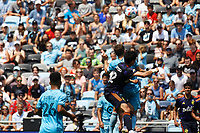 ST PAUL, MN - JULY 18: Fredy Montero #12 of the Seattle Sounders FC goes to head the ball during a game between Seattle Sounders FC and Minnesota United FC at Allianz Field on July 18, 2021 in St Paul, Minnesota.