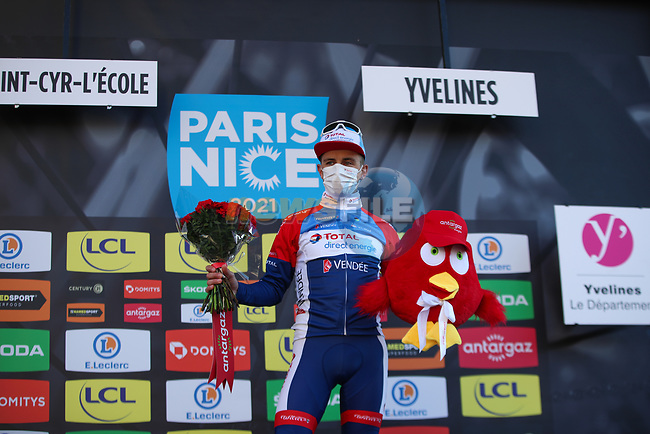 Fabien Doubey (FRA) Total Direct Energie also wins the day's combativity award at the end of Stage 1 of Paris-Nice 2021, running 166km from Saint-Cyr-l'École to Saint-Cyr-l'École, France. 7th March 2021.<br /> Picture: ASO/Fabien Boukla | Cyclefile<br /> <br /> All photos usage must carry mandatory copyright credit (© Cyclefile | ASO/Fabien Boukla)