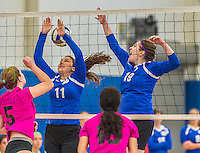 18 October 2015: Yeshiva University Maccabee Setter, Defensive Specialist and team co-Captain Aliza Muller (11), a Senior from Los Angeles, CA, and Middle Blocker Marissa Almoslino (19), a Junior from Seattle, WA, in action against the Sage College Gators, at the Peter Sharp Center, College of Mount Saint Vincent, in Riverdale, NY. The Gators defeated the Maccabees 3-0 in the NCAA Division III Women's Volleyball Skyline matchup. Mandatory Credit: Ed Wolfstein Photo *** RAW (NEF) Image File Available ***