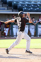 Scott Hoffman #17 of the Desert Ridge (Az.) High School Jaguars bats against the Mountain Pointe High School Pride in the  Class 5A-1 state tournament at Phoenix Municipal Stadium on May 12, 2011 in Phoenix, Arizona..Photo by:  Bill Mitchell/Four Seam Images