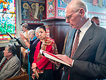 Reading of the prokeimenon, Paschal Divine Liturgy with the blessing of the eggs, St. Sava Serbian Orthodox Church, midnight in Jackson, Calif.