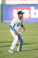 Yusniel Diaz (16) of the Rancho Cucamonga Quakes before a game against the Lancaster JetHawks at The Hanger on April 19, 2016 in Lancaster, California. Rancho Cucamonga defeated Lancaster, 10-6. (Larry Goren/Four Seam Images)
